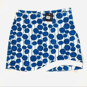 TopShop Blue Floral Asymmetrical